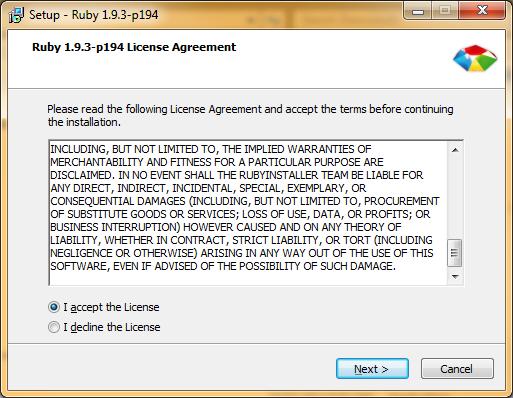 Ruby Installer Screen 1