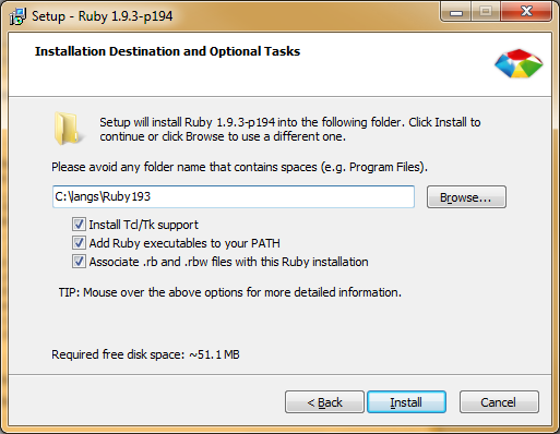 Ruby Installer Screen 2
